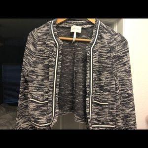 Colbalt Blue and Cream Tweed Cropped Blazer